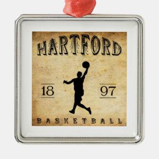 1897年のハートフォードコネチカットのバスケットボール メタルオーナメント