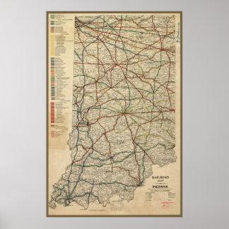 1897年頃インディアナの鉄道システムの地図、 ポスター