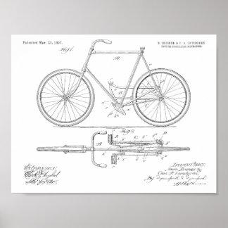 1897鎖のない自転車のパテントの芸術のスケッチのプリント ポスター