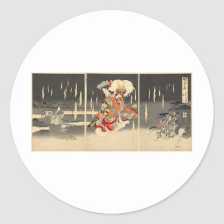 1898年頃武士の絵画 ラウンドシール
