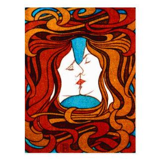 """""""1898年頃毛によって""""接吻する2つの顔 ポストカード"""