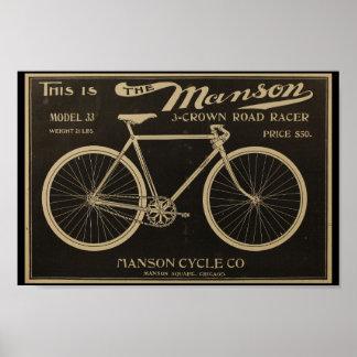 1899年のヴィンテージのMansonの自転車の広告の芸術ポスター ポスター