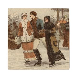 1899年頃: クリスマスを楽しんでいるアイススケーター ウッドコースター