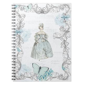 19世紀なファッションのノートのヴィンテージのコラージュ ノートブック