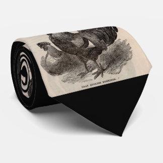 19世紀なプリントの灰色の英国のdorkingsの鶏 ネクタイ