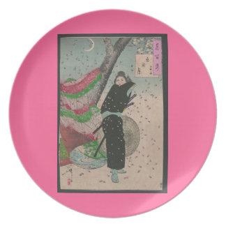 19世紀頃武士そして桜 プレート
