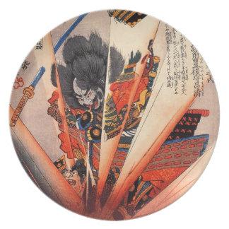 19世紀頃爆発性の武士の絵画 プレート