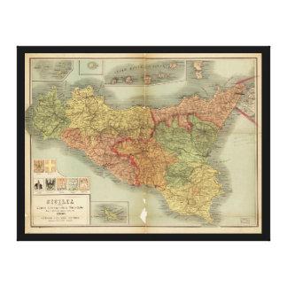 1900年からのシシリーの古い地図(Siciliaのcarta) キャンバスプリント