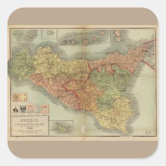 1900年からのシシリーの古い地図(Siciliaのcarta) スクエアシール