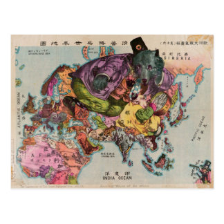 1900年のまわりの世界のヴィンテージの地図 葉書き