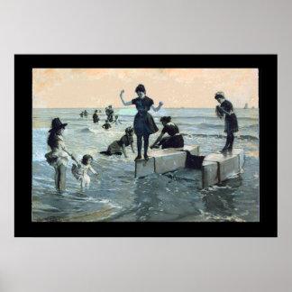 1900年頃浸るヴィンテージの海岸 ポスター