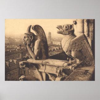 1900年頃Notre Dameのガーゴイル ポスター
