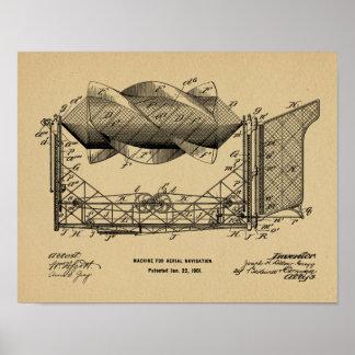 1901年の航空機の飛行機のパテントの芸術のスケッチ ポスター