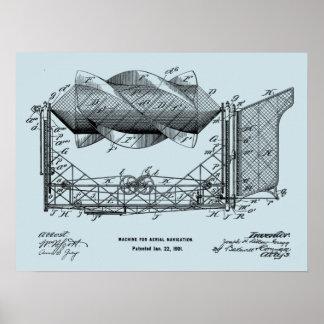 1901年の航空機の飛行機の芸術のスケッチのプリント ポスター
