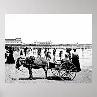 1902年のアトランティック・シティのビーチのプリント ポスター