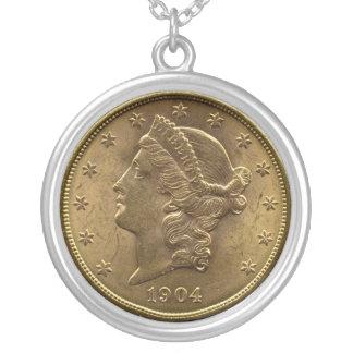 1904 20ドルの硬貨の前部(頭部)または$20お金 シルバープレートネックレス