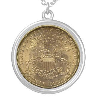 1904 20ドルの硬貨、背部(尾)または$20 シルバープレートネックレス