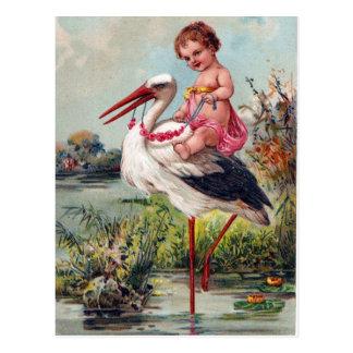 1909年からのこうのとりそしてベビー ポストカード