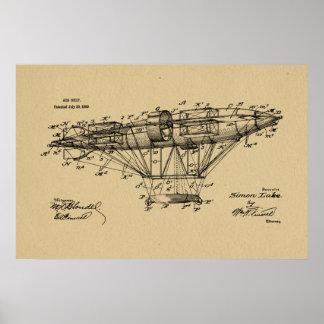 1909年の飛行船のAeroshipのパテントのスケッチの芸術のプリント ポスター