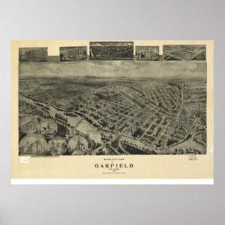 1909年ガーフィールド、NJの鳥目眺めのパノラマ式の地図の ポスター