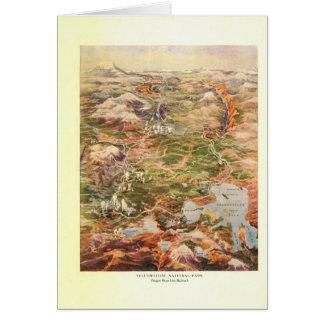 1910空中写真の地図-イエローストーン国立公園 カード