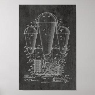 1911古い飛行船の気球のパテントの芸術のスケッチのプリント ポスター