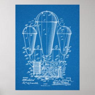 1911年の飛行船の気球のパテントの芸術のスケッチのプリント ポスター