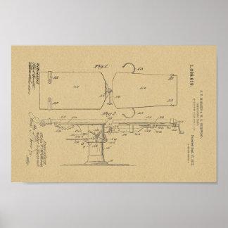1912年のヴィンテージのOsteopathicテーブルのパテントの芸術のプリント ポスター