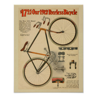 1912無比の自転車色の広告の芸術のプリント ポスター