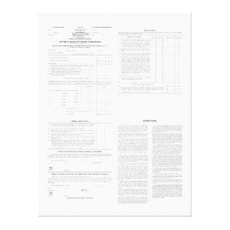 1913年の(4)ページからの元の所得税の型枠1040年 キャンバスプリント