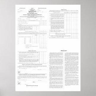 1913年の(4)ページからの元の所得税の型枠1040年 ポスター