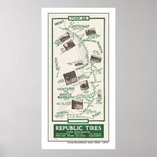 1914地図、ベントゥーラへのサンタ・バーバラ ポスター