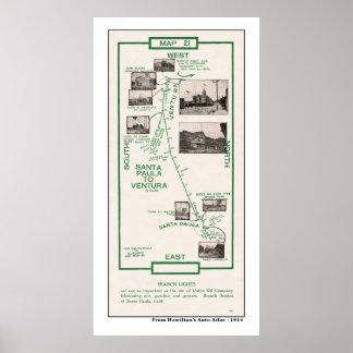 1914地図、ベントゥーラへのSanta Paula ポスター
