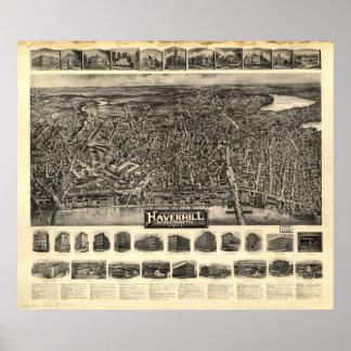 1914年Haverhill、MAの鳥目眺めのパノラマ式の地図の ポスター