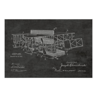1915年のボートの飛行機のパテントの芸術のスケッチのプリント ポスター