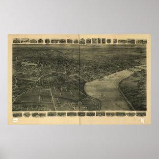 1915年のMiddletown CTの鳥目眺めのパノラマ式の地図 ポスター