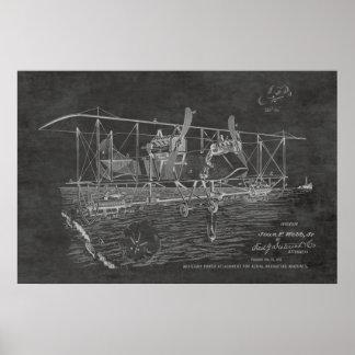 1919年の複葉機の爆撃機のパテントの芸術のスケッチのプリント ポスター