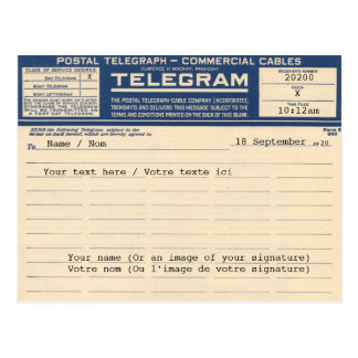 1920 Postal Telegram (Postcard) はがき