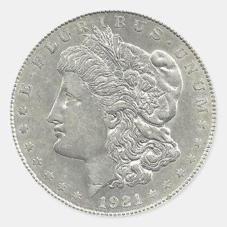 1921年のモーガンの1ドル銀貨のステッカー ラウンドシール