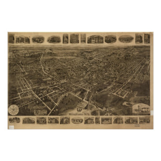 1921年Middletown、NYの鳥目眺めのパノラマ式の地図の ポスター