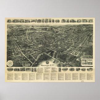 1922年Middletown、NYの鳥目眺めのパノラマ式の地図の ポスター