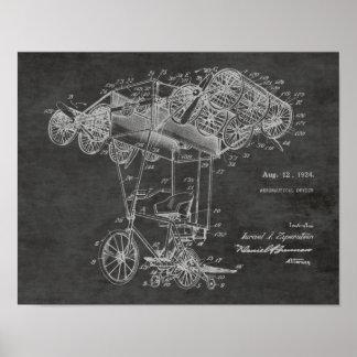 1924台の自転車の飛行機のパテントの芸術のスケッチのプリント ポスター