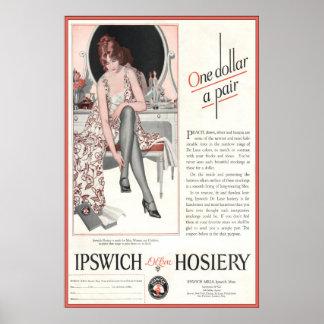 1924年からのヴィンテージのイプスウィッチの靴下の広告 ポスター