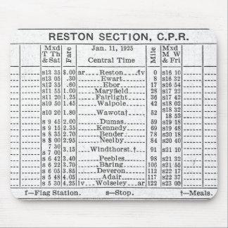 1925年のCPR Restonセクションタイムテーブル マウスパッド
