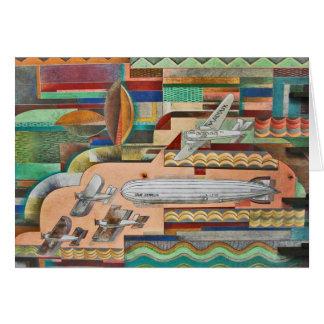 1929年のDecoの交通機関の壁画 グリーティングカード