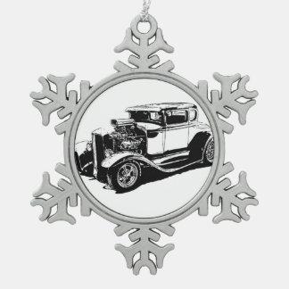 1931 5つの窓のクーペのスケッチ スノーフレークピューターオーナメント