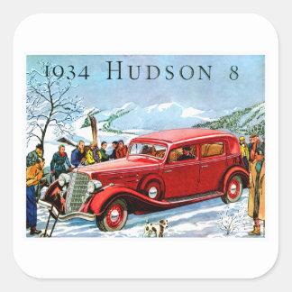 1934年のハドソン8のヴィンテージの自動車広告 スクエアシール