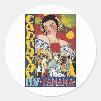 1937年のパナマカーニバル 丸形シールステッカー