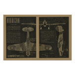 1938年の航空ハリケーンの飛行機のデザインの芸術のプリント ポスター