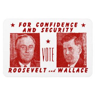 1940投票ルーズベルト + 赤いウォーレス マグネット